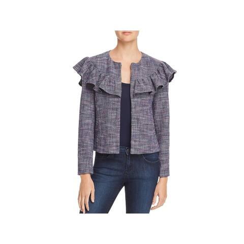 Rebecca Taylor Womens Tweed Jacket Ruffled Bracelet Sleeves