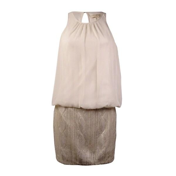 Aidan Mattox Women's Keyhole Sequined Blouson Dress - champagne