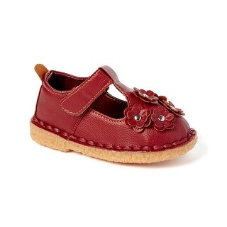 Little Girls Burgundy Floral Applique T-Strap Mary Jane Shoes 5-10 Toddler