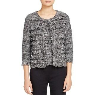 T Tahari Womens Fiona Cardigan Sweater Marled Hook Front