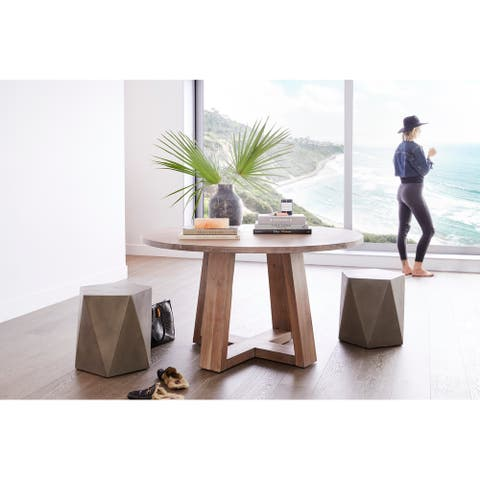 Aurelle Home Tina Solid Wood Round Modern Table