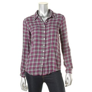 Soft Joie Womens Eirene Houndstooth Plaid Button-Down Top