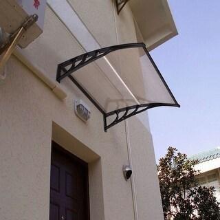 Costway 40''x 40'' Window Awning Door Canopy Outdoor Front Door dark brown