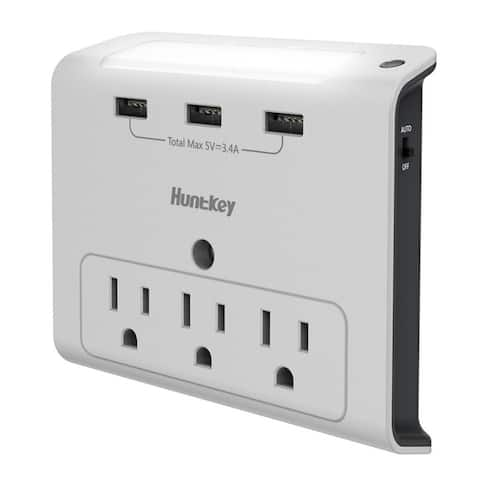 Huntkey 3 AC Outlets with 3 USB Ports Wall Mount with Auto Sensor Night Light