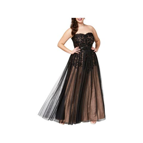 City Chic Womens Plus Evening Dress Strapless Party