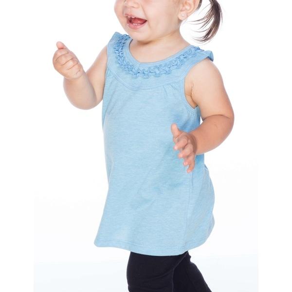 Kavio! Infants Sheer Jersey V Neck Ruffle Yoke Tank