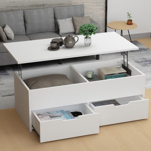 Modern Wooden Lift Top Coffee Table Desk With Storage Drawers