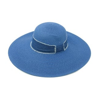 ChicHeadwear Womens Fashion Straw Hat w/ Fringed Denim Band - One size