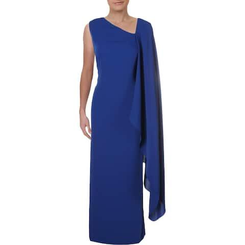 Lauren Ralph Lauren Womens Evening Dress Asymmetric Cape Overlay - Blue