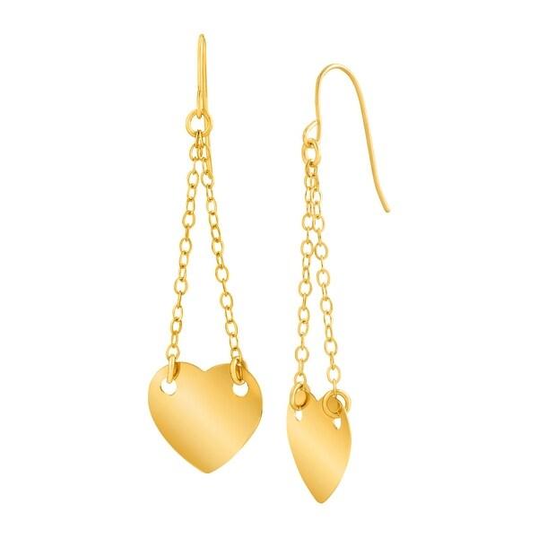 Eternity Gold Chain Heart Drop Earrings in 14K Gold