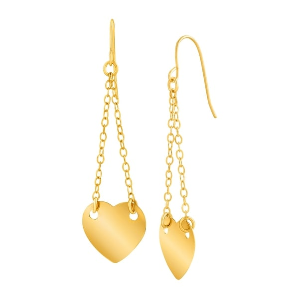 Just Gold Chain Heart Drop Earrings in 14K Gold - YELLOW