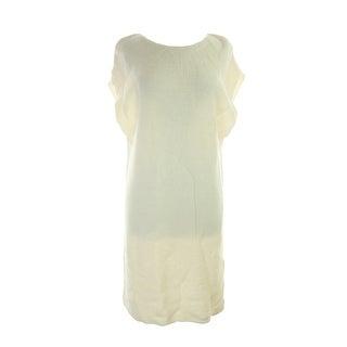 Studio M Ivory Short-Sleeve Side-Slit Long Pullover L