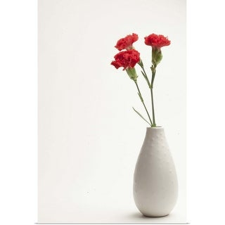 """Red carnations in vase"" Poster Print"