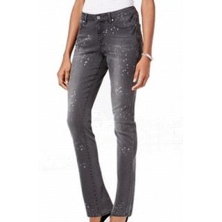Earl NEW Dark Gray Women's Size 6X28 Paint Splatter Slim Skinny Jeans
