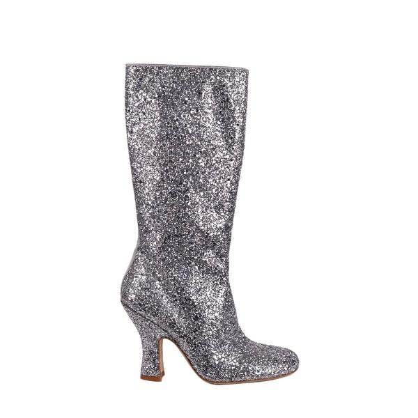 358d35d9fb Shop Miu Miu Womens Silver Glitter Leather Knee High Boots - Free ...