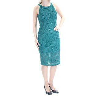 TRIXXI Womens New 2990 Green Glitter Lace Sleeveless Sheath Dress Juniors 7 B+B
