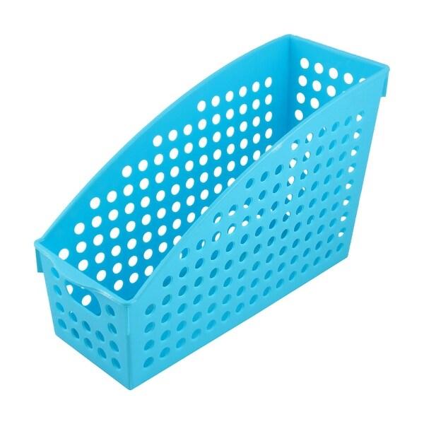 Home Office Plastic Paper Book Magazine Document File Holder Storage Basket  Blue