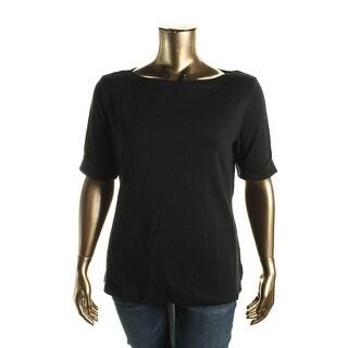 Karen Scott Womens Cotton Solid Casual Top