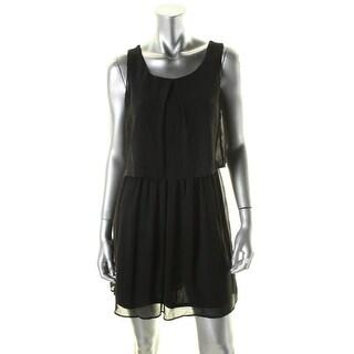 BCX Womens Juniors Casual Dress Lace Inset Popover - M
