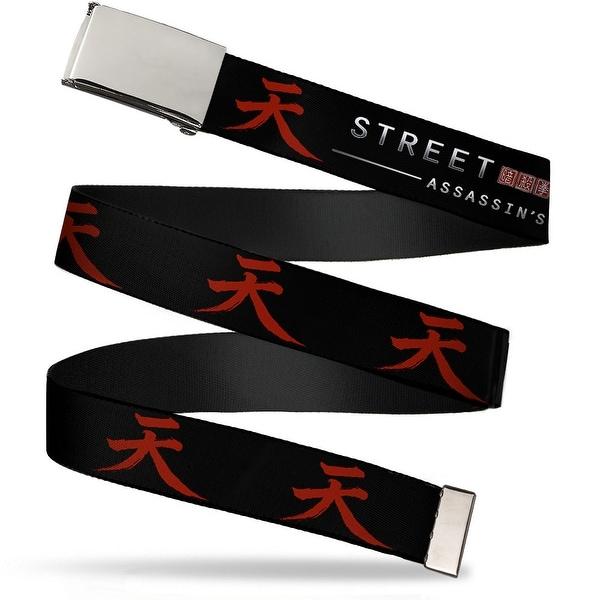 Blank Chrome Buckle Street Fighter Assassin's Fist Akuma Symbol Black Web Belt - S