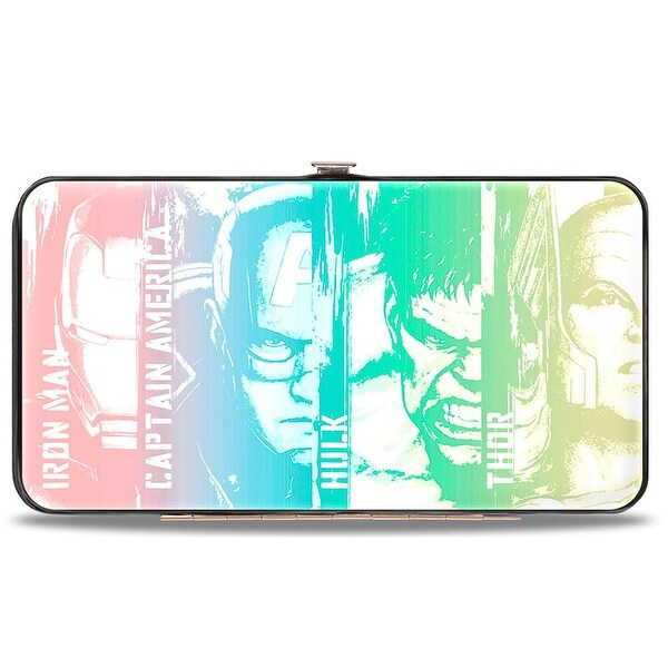 Marvel Avengers 4 Avengers Face Panels Close Up White Multi Pastel Hinged Hinge Wallet - One Size Fits most