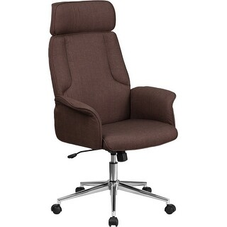 Bridgettine High-Back Brown Fabric Executive Swivel Chair w/Upholstered Arms