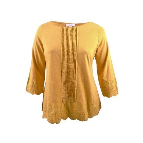Charter Club Women's Plus Size Cotton Crochet-Trim Top
