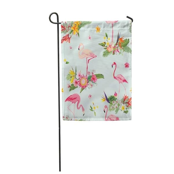 Pink Pattern Flamingo Bird And Tropical Flowers Retro Garden Flag Decorative Flag House Banner 12x18 Inch On Sale Overstock 31366517
