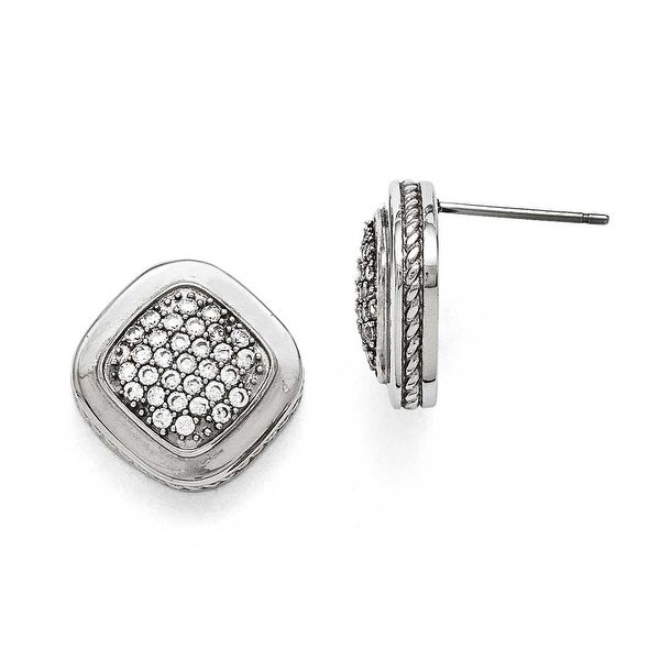 Chisel Stainless Steel Polished Square CZ Post Earrings
