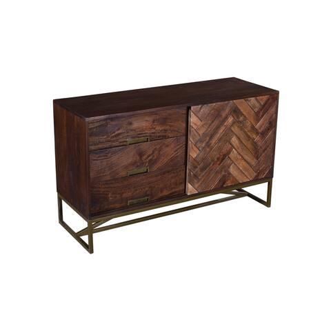 Herringbone Inlaid Single Door Wood Sideboard Cabinet with 3 Drawers and Metal Base, Brown