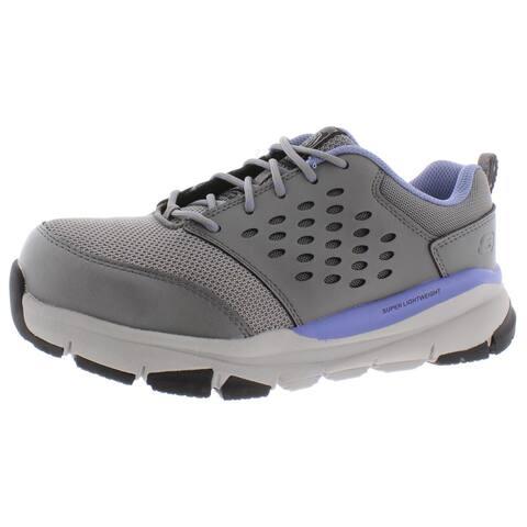 Skechers Womens Corrick Safety Shoes Memory Foam Work - Gray/Light Blue - 8 Wide (C,D,W)