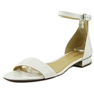 Michael Michael Kors Joy Flat Sandal Women Open Toe Patent Leather White Sandals