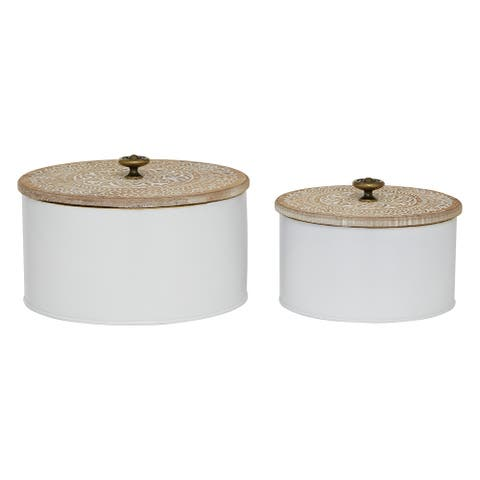 Round White Metal Tins with Carved Wood Lids, Set of 2 - 8 x 8 x 5