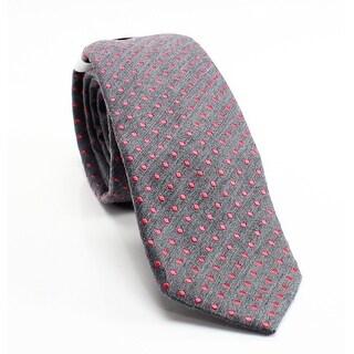 Calvin Klein NEW Gray Coral Pink Polka Dot Silk Blend Men's Necktie