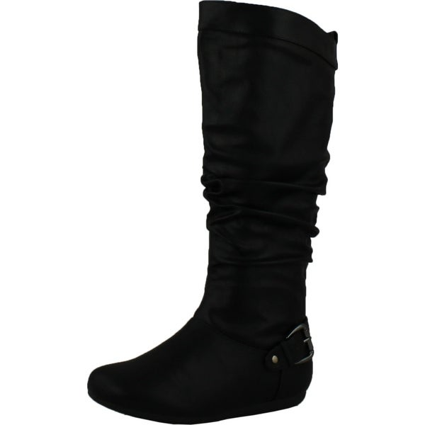 Top Moda Womens Local-61 Knee High Buckle Slouched Boots