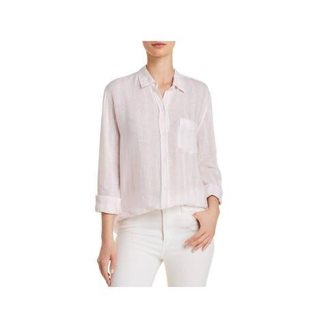 Rails Womens Charli Button-Down Top Linen Blend Striped