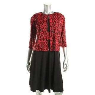 Jessica Howard Womens Petites Embellished Contrast Trim Dress With Cardigan - 6P
