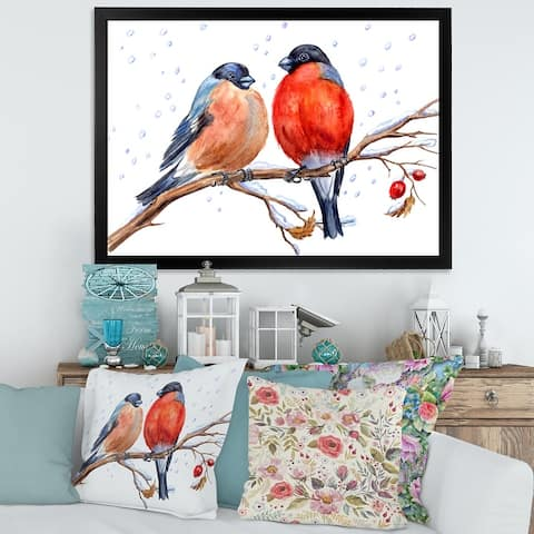 Designart 'Two Bullfinches on A Hawthorn Branch with Snowfall' Traditional Framed Art Print