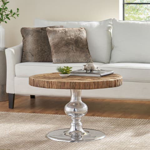 Aida Wood and Aluminum Coffee Table by Christopher Knight Home