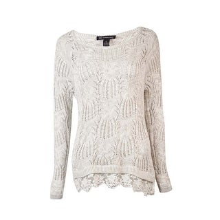 INC International Concepts Women's Lace-Hem Cable Sweater