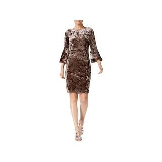 Calvin Klein Womens Cocktail Dress Bell Sleeves Knee-Length