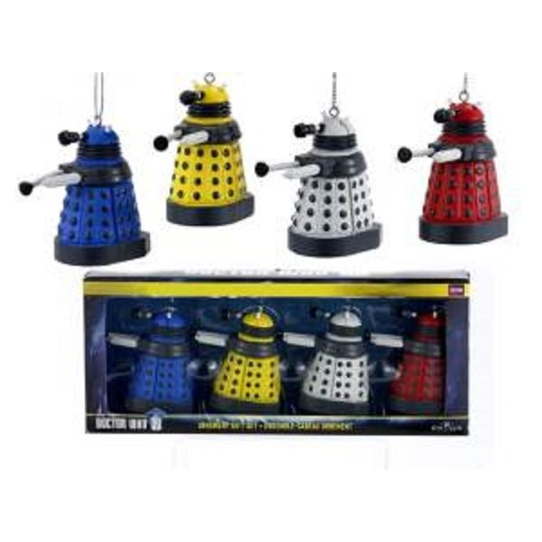 4-Piece Multi-Colored Doctor Who Miniature Dalek Drone Christmas Ornament Gift Set