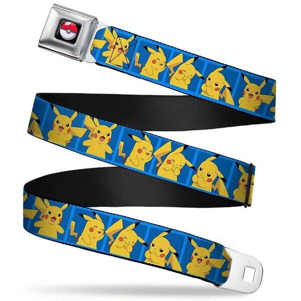Pok Ball Full Color Black Pikachu 5 Pose Blocks Blues Webbing Seatbelt Seatbelt Belt