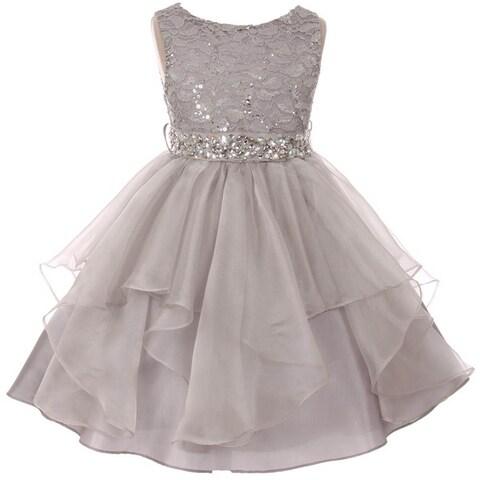 Flower Girl Dress Sequin Lace Top Ruffle Skirt Silver MBK 357