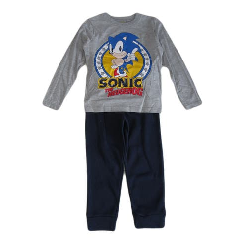 Sonic Grey The Hedgehog Long Sleeve Top Jogger Pants Outfit Little Boys