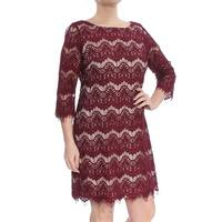 Jessica Howard Red Nude Women's Size 12 Floral Lace Sheath Dress