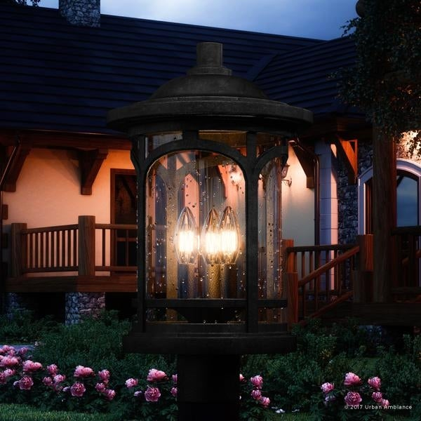 shop luxury rustic outdoor post light 19 h x 11 w with colonial