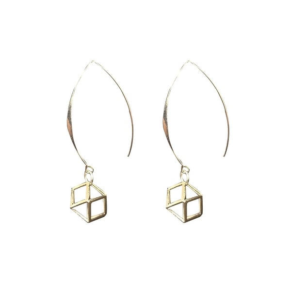 max & MO Open Hoop Silver Caged Earring