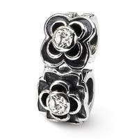 Sterling Silver Reflections CZ Connector Bead (4mm Diameter Hole)