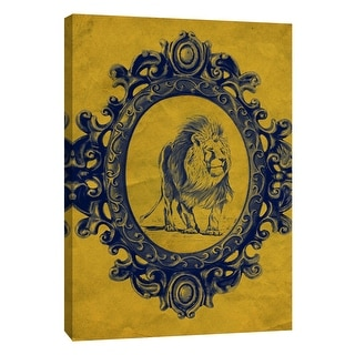 """PTM Images 9-105891  PTM Canvas Collection 10"""" x 8"""" - """"Framed Lion in Yellow"""" Giclee Lions Art Print on Canvas"""